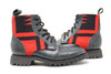 Men's Black & Wool Handmade Leather Boots - Red and Black