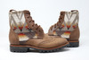 Men's Brown Handmade Leather Boots  Wool Pattern