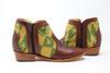 Women's Brown & Wool Handmade Leather Booties -Green & Yellow