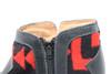 Women's Black & Wool Handmade Leather Booties- Black & Red