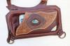 El Sureno Holster Vest Holster Bag picture of strap close up of embedded gemstone. Phone case.