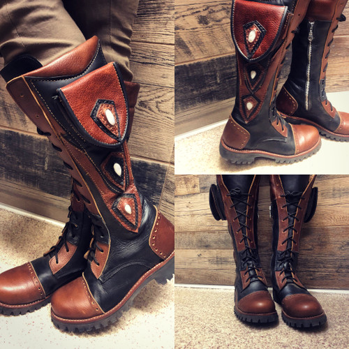 Women's Tall Gunslinger boots Black and Brown lifestyle shot