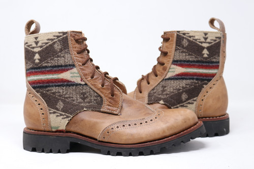 Men's Beige & Pendleton Wool Handmade Leather Boots - Spirit of the People
