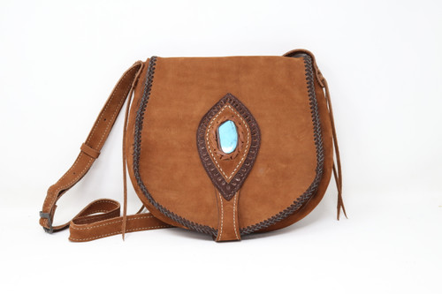 Brown Leather Hand Stitched Purse Front View