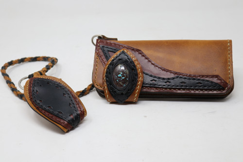 Brown hand & machine stitched leather Long Bill Wallet with chain front view
