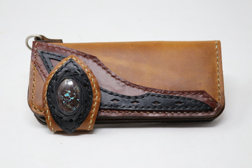 Brown hand & machine stitched leather Long Bill Wallet front view