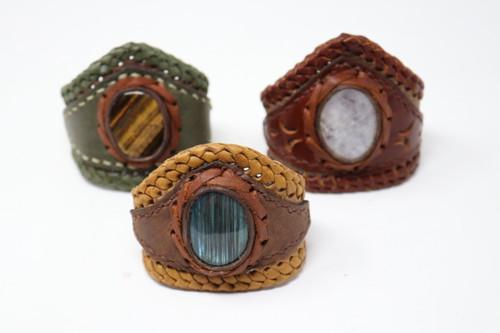 Leather & Stone Cuff Bracelets