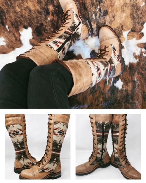 Women's Tall Beige Wool Gunslinger Boots
