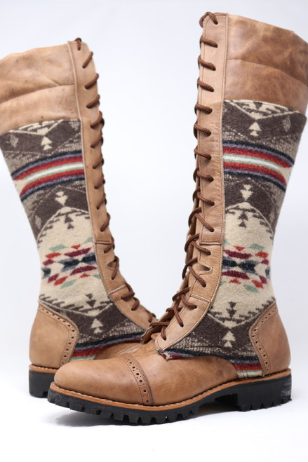 Women's Tall Beige Wool Gunslinger Boots
