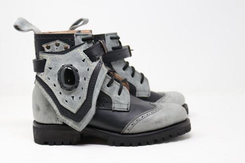 Women's Black & Gray Handmade Leather Boots *Gunslinger*