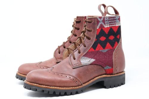 Men's Brown & Wool Handmade Leather Boots - La Paz Scarlett