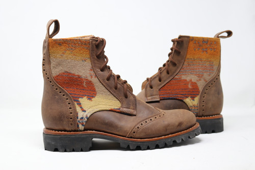 Men's Brown & Wool Handmade Leather Boots - Land  of Buffalo