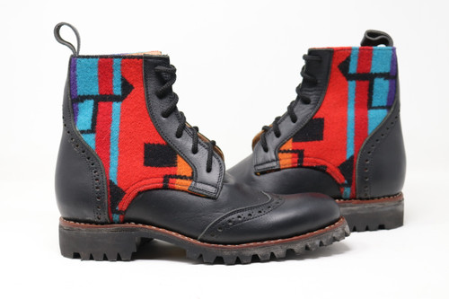 Men's Black Wool Handmade Leather Boots - Multi Color
