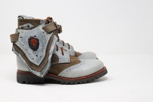 Women's Green and Gray Handmade Leather Boots *Gunslinger*