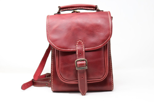 Leather Backpack - Red