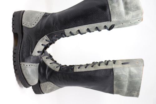 Tall Handmade Leather Boots Black and Gray -Made to Order