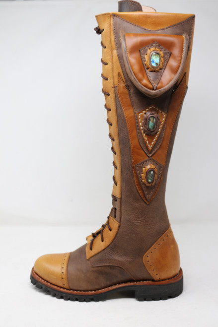 Custom tall boots, labradorite, boots with pocket