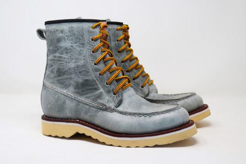 Boots, moc toe, Celeste, Grey, Gris,  Men's, Women's, unisex, oil & slip resistant soles, white soles, high top boots, custom boots, custom boot sizes, made to order boots, handmade leather boots, work boots, el gato montes