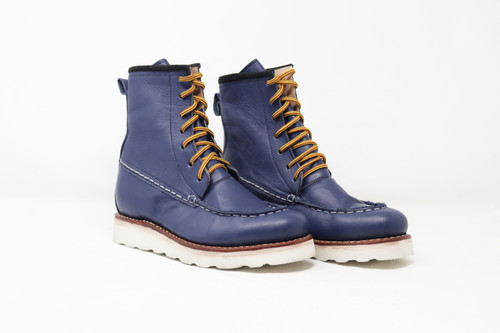 Boots, moc toe, blue, azul, womens 6, unisex, oil & slip resistant soles, white soles, high top boots, custom boots, custom boot sizes, made to order boots, handmade leather boots, work boots, el gato montes