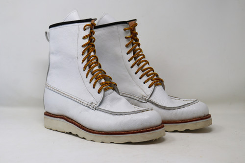 Boots, moc toe, white, blanco, mens, womens, unisex, oil & slip resistant soles, white soles, high top boots, custom boots, custom boot sizes, made to order boots, handmade leather boots, work boots, el gato montes