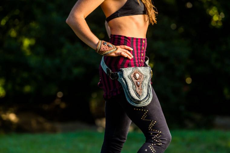 Leather Utility Belt Bag lifestyle shot with model