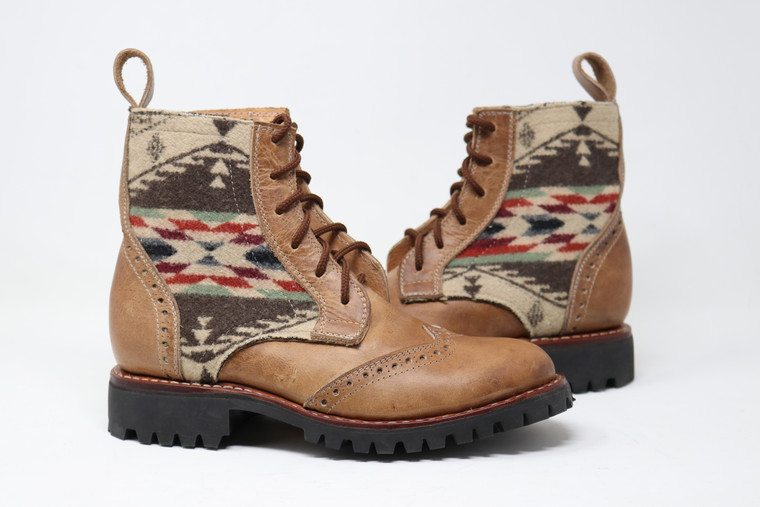 Women's Beige & Wool Handmade Leather Boots - Spirit of the People
