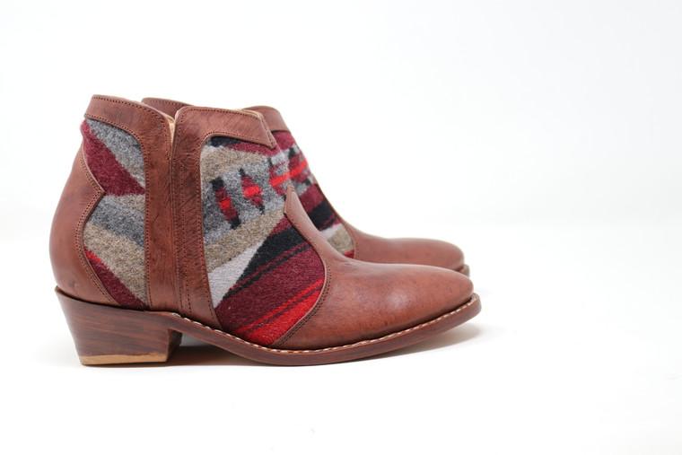Women's Brown & Wool Handmade Leather Booties