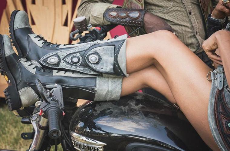 Women's Tall  Black & Gray Handmade Leather Boots *Gunslinger*