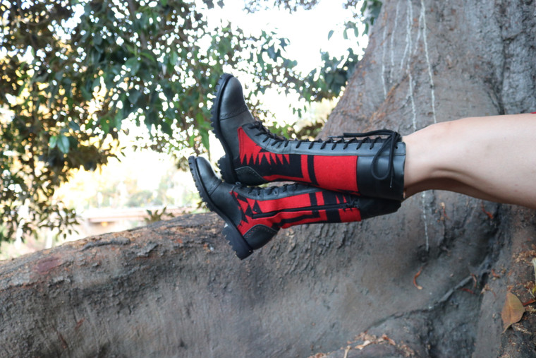 Women's tall leather boots lifestyle