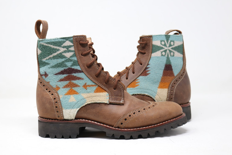 Men's Brown & Wool Handmade Leather Boots - Tucson Aqua