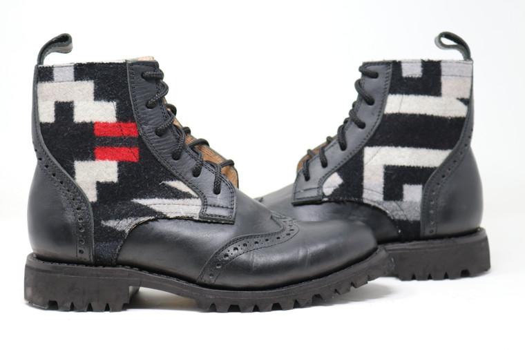 Men's Black & Wool Handmade Leather Boots - Rio Rancho Black