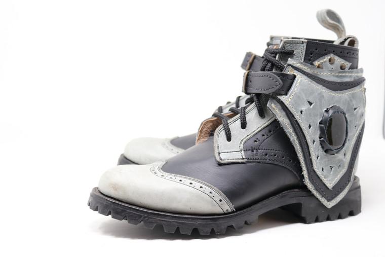 MEN'S Black and Gray Handmade Leather Boots *Gunslinger*