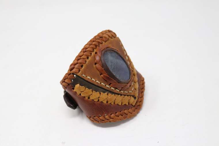 Leather and Stone Laced Cuff Bracelet