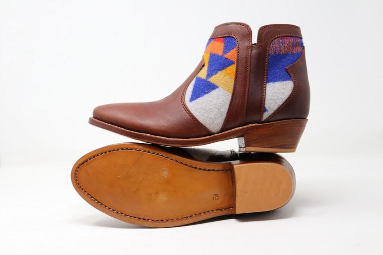 Women's Brown & Wool Handmade Leather Booties -Rainbow