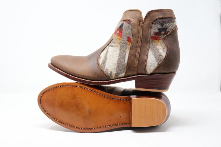 Women's Brown &Wool Handmade Leather Booties -Pattern