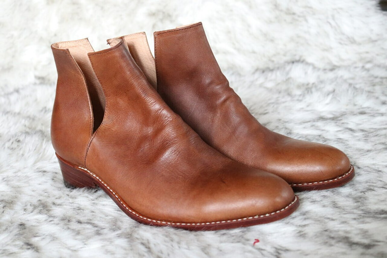 V Cut Leather Boot