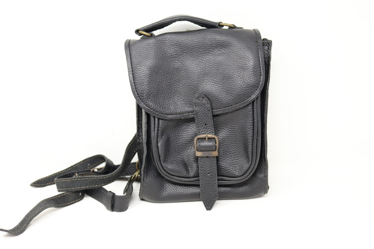 Leather Backpack Black front view
