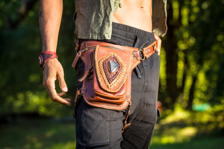 Aventurera Leather Utility Belt Bag  Brown lifestyle shot