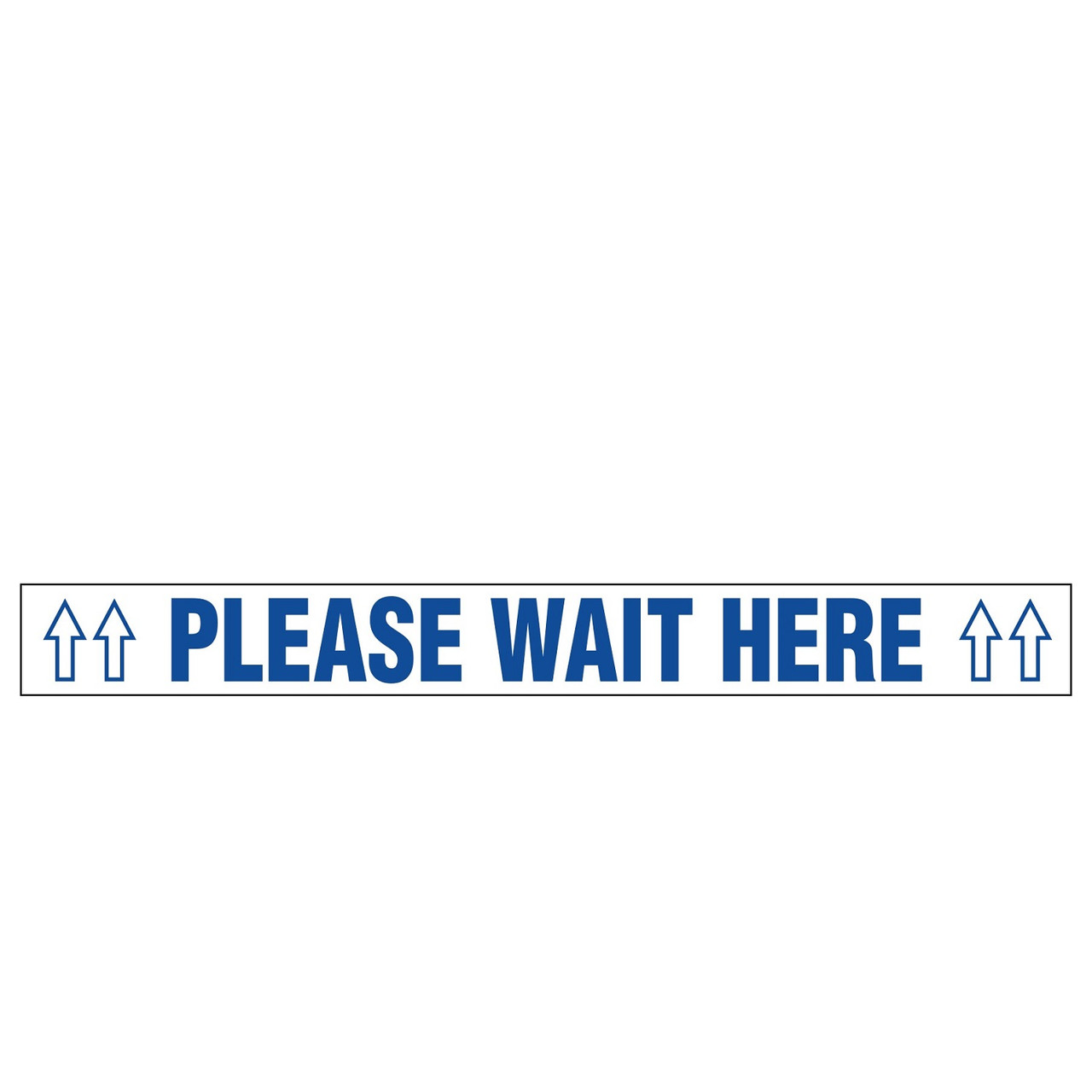 Floor Sign Tape   Please Wait Here   2.25 Inch x 55 Foot Roll   Blue/White