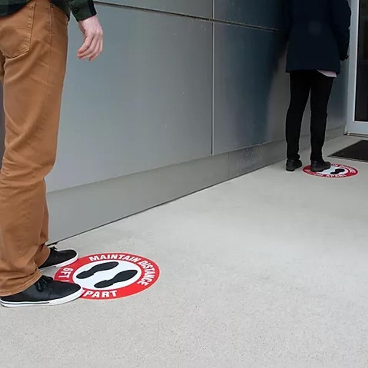 "FS3038OD Outdoor Floor Sign | Heavy Duty | Stop Please Wait Here | 3"" x 24"" | Pack of 5"