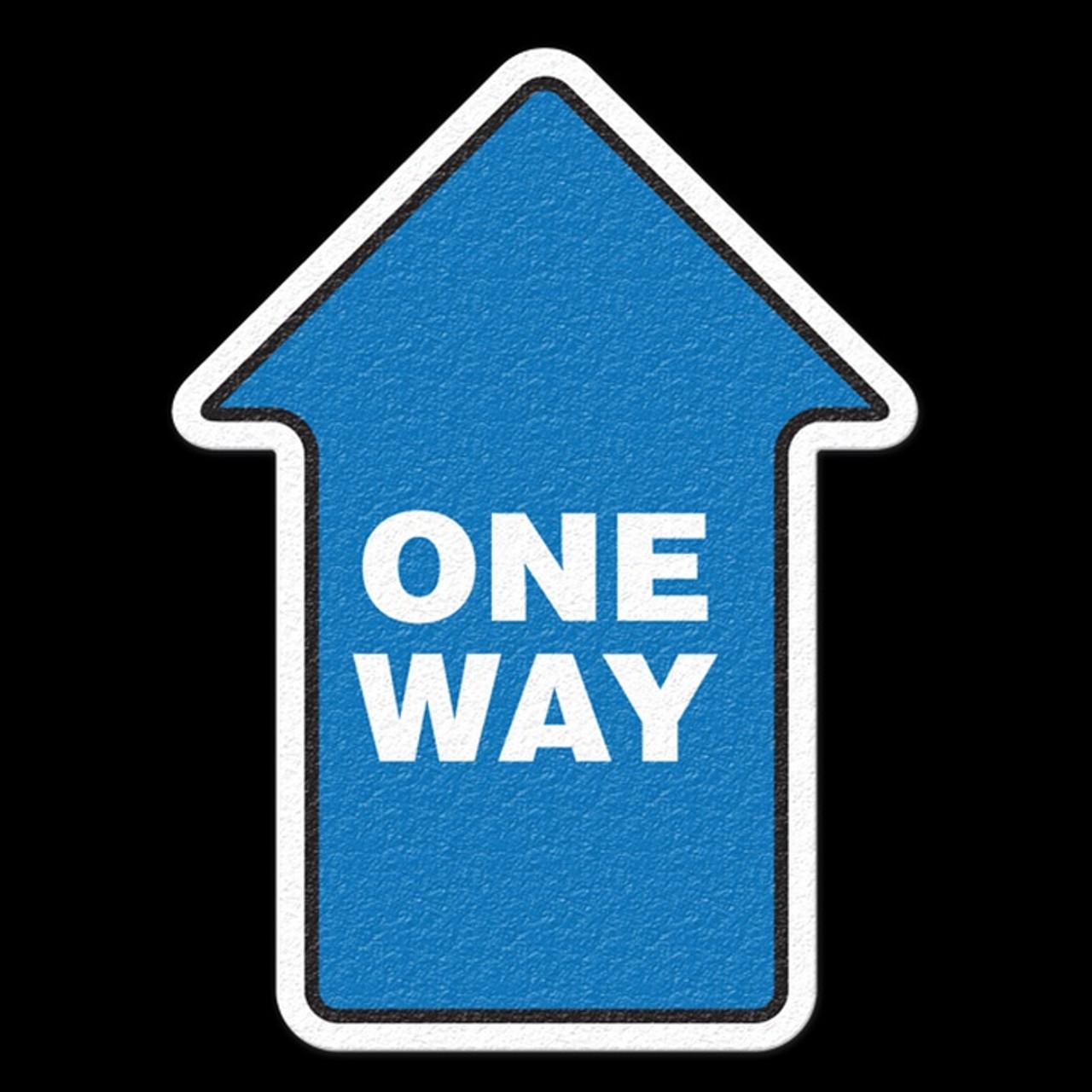 ONE WAY - Blue Anti Slip Arrow Floor Sign
