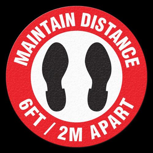 "FS1045OD Outdoor Floor Sign | Heavy Duty | Maintain Distance 6FT/2M Apart | 17"" Diameter"