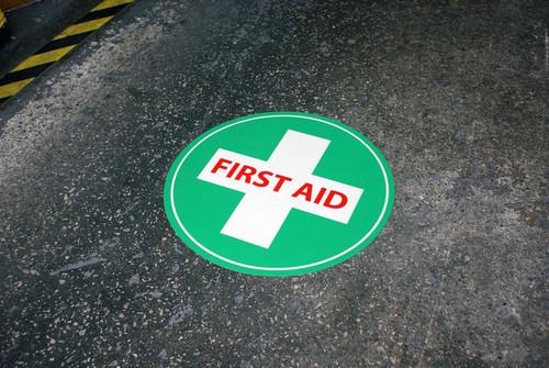 Photoluminescent First Aid Floor Marker - 16.92 Inch Diameter
