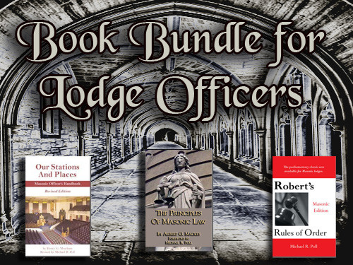 The Principles of Masonic Law by Albert G. Mackey, Robert's Rules of Order: Masonic Edition Revised by Michael R. Poll, and  Our Stations and Places: Masonic Officer's Handbook by Henry G. Meacham