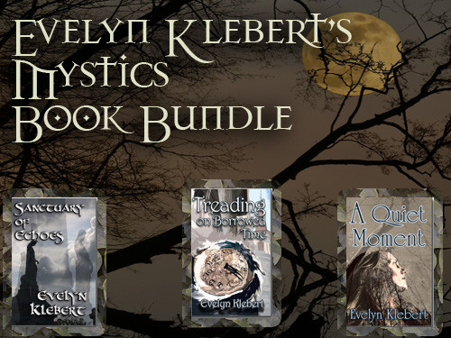 Three paranormal romances by Evelyn Klebert: An Uneasy Traveler, Sanctuary of Echoes, and Treading on Borrowed Time.