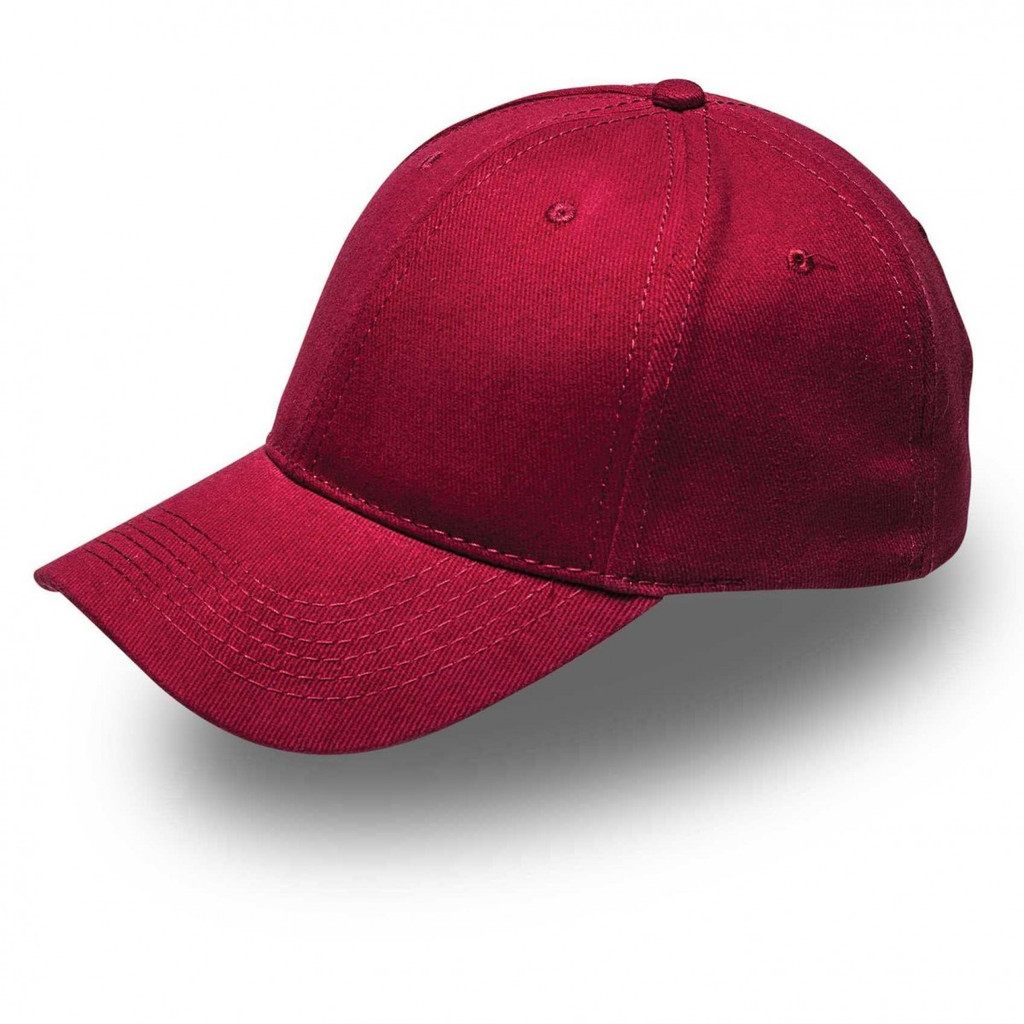 Burgundy 6 Panel Brushed Cotton Cap