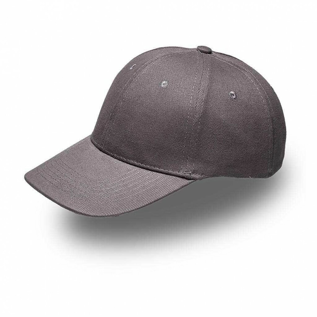 Grey 6 Panel Brushed Cotton Cap