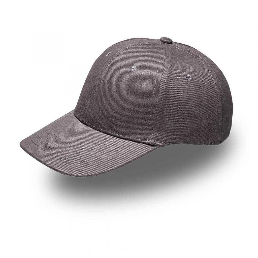 Grey 6 Panel Brushed Cotton Cap