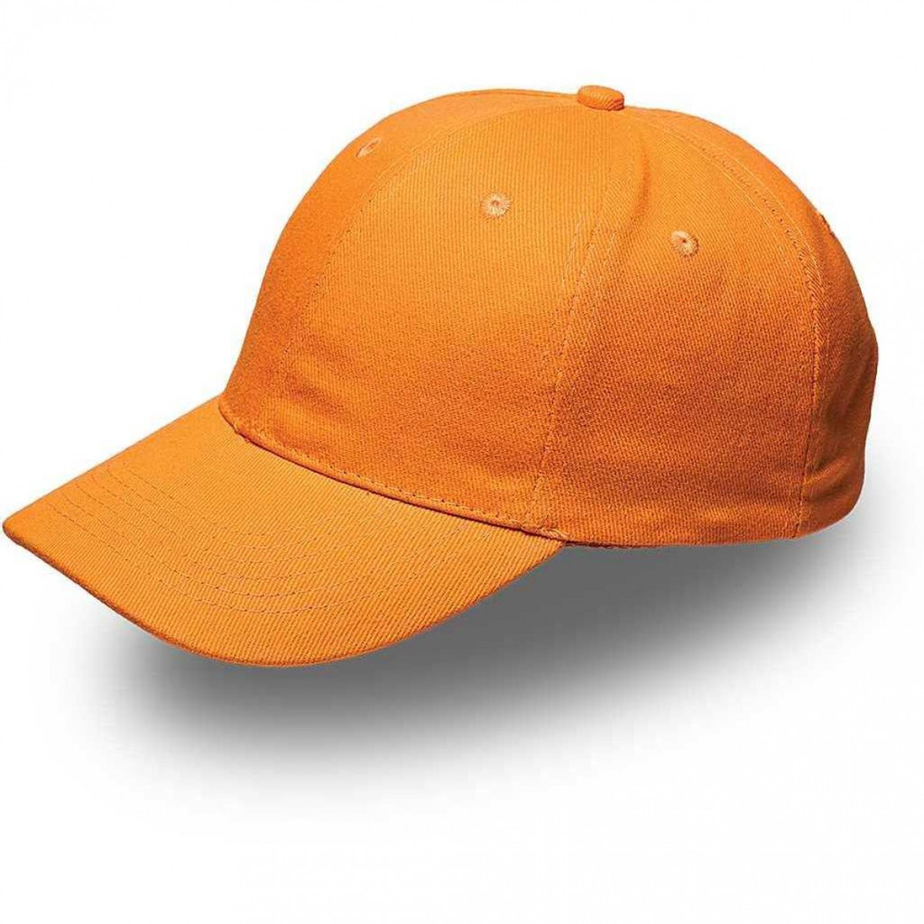 Orange 6 Panel Brushed Cotton Cap