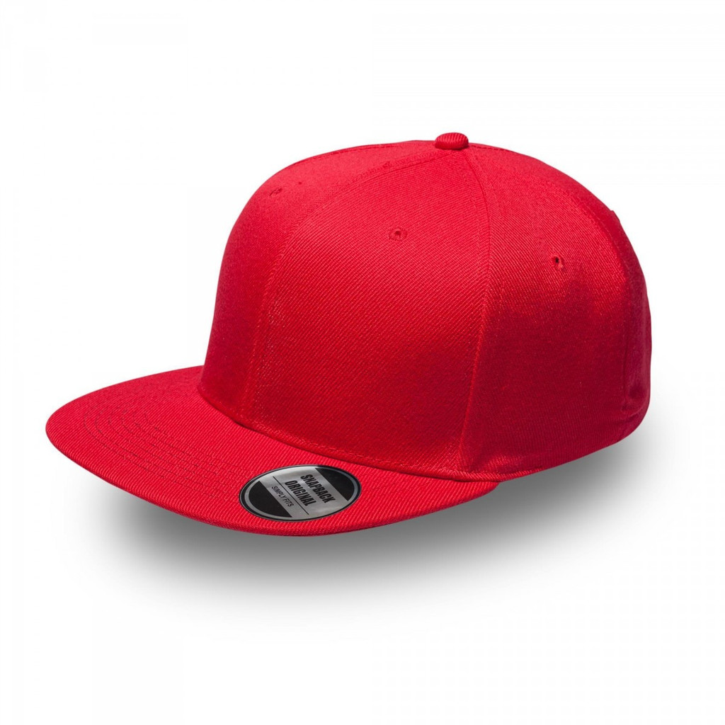 Red Original Snapback Flat Peak Cap